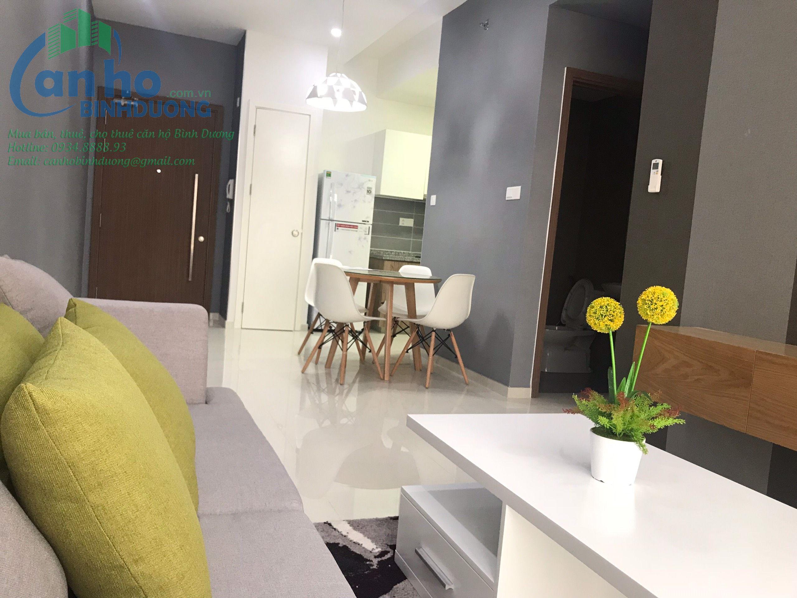 Căn hộ Habitat Bình Dương cho thuê nội thất giá tốt, 62 m2, 2 phòng ngủ, 2 WC tầng 12A View SG