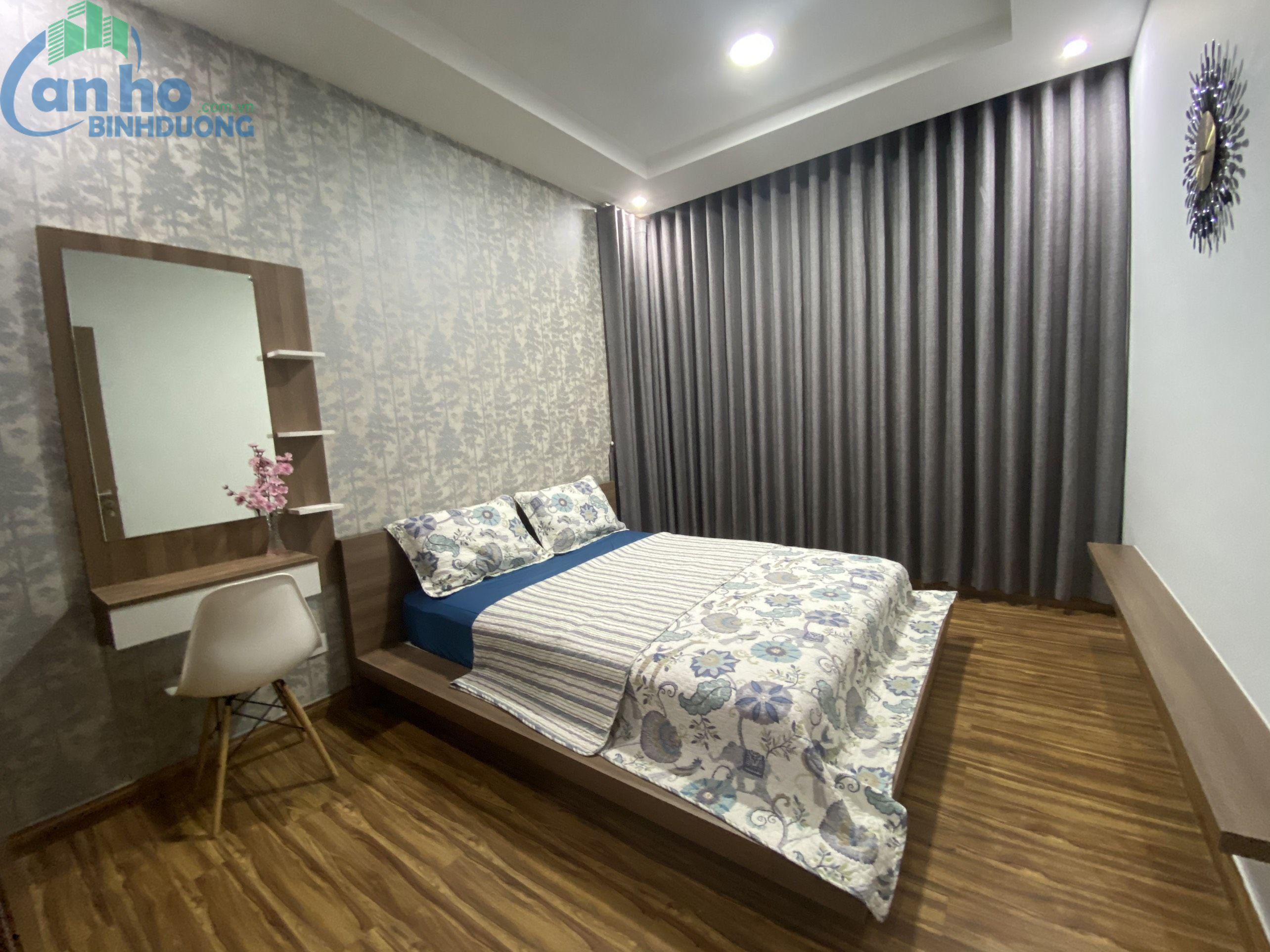 Căn hộ 3 phòng Dual key , DT 108 m2, ban công view công viên, tầng cao cho thuê đầy đủ tiện nghi cho