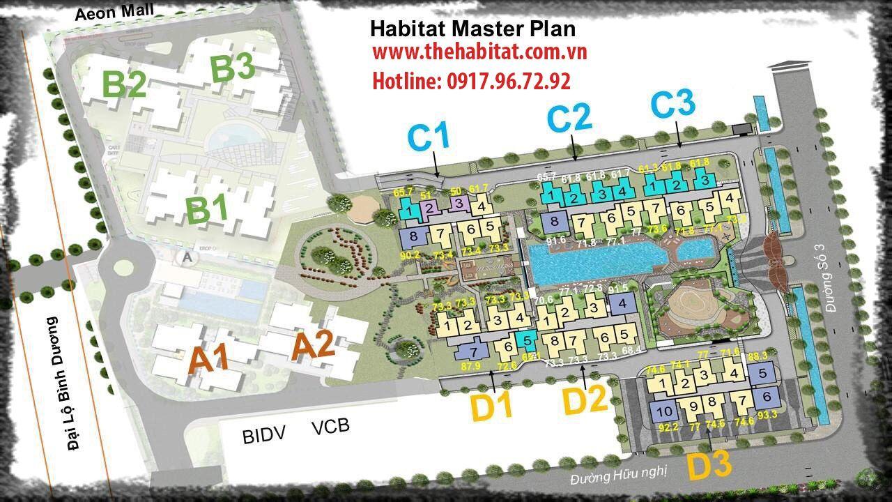 Mặt bằng dự án Habitat Bình Dương Giai đoạn 3